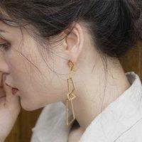 Luxury New fashion personality geometric long earrings women's feeling small thin face niche Design Earrings