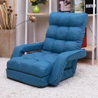 미국 창고 침실 가구 접는 게으른 소파 바닥 의자 안락 의자 침대 팔걸이와 베개 (Blue_1)