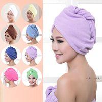 Toalla de la ducha Toalla de las mujeres Microfibra Mágica Tapas de ducha de cabello Dry Secking Turban Wrap Toalla Secadora rápida Secador de secado 60 * 25 cm GWB10469