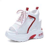 Przyjazd Letni Platforma Sandał 10 cm Kliny Grube Domy Casual Buty Wygodne Białe Sneakers Lace-Up Sneakers 210619 B67P