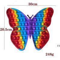 Big size 30cm pop it popit Rainbow Butterfly Push Bubble Fidget Toys Stress Relief Toy Autism Needs HWD7736