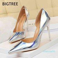 BigTree Neue Pumpen Sexy High Stiletto Hochzeit Silber Party Schuhe Frauen Heels Weibliche 210409