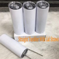 Em linha reta! 20oz sublimação em branco de aço inoxidável de aço inoxidável copo reto personalizado com palhas de metal garrafas de água térmica canecas