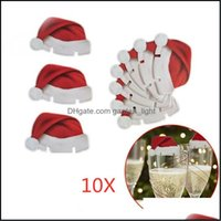 Festive Party Supplies Home & Garden10Pcs Lot Christmas Decorations Hats For Champagne Cup Wooden Red Wine Glass Card Santa Claus Xmas Elk D