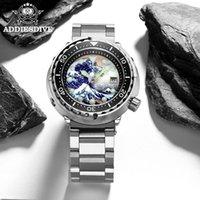 Montres mécaniques automatiques Hommes de thon Mécanicaux pleins Kanagawa Ocean Wave Cadran 300M Montre Diver Montre Inox Diving Bracelet