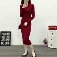 새로운 가을 겨울 여자 니트 드레스 터틀넥 스웨터 드레스 레이디 슬림 바디 콘 긴 소매 바닥 바닥 드레스 Vestidos