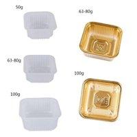 Cadeau cadeau R2LD 100PCS 50 / 63-80 / 100g Square Square Moon Cake Cake Boîte de conteneur
