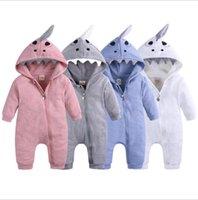 Baby Boys Girls Romper Cartoon Shark Hooded Jumpsuits Cotton Zipper Playsuit Winter Kids Clothing 8 Designs Optional BT6688
