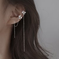 Long Korean version light luxury niche 925 Sterling Silver Four awn star Earrings