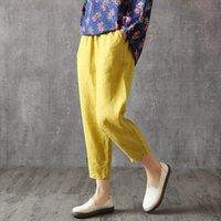 Shimai vintage plus größe baumwolle damen capris sommer elastische taille lose beiläufige koreanische taschenleinenhose
