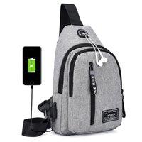 Backpack Canvas Polyester Chest Crossbody Bag Men USB Charging Messenger Splash-proof Travel Fashion Shoulder Strap Pack