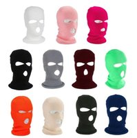 Fluorescent Three-hole Cap Knitted Headgear Winter Skimask Keep Warm Caps Windproof Full Face Cover designer Party Masks Tactical Hats