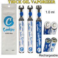 Biscotti vape penna monouso e sigarette 400mAh batteria ricaricabile 1.0ml cartucce in ceramica con borsa al dettaglio imballaggio a vite di rame tip serbatoio vaporizzatore vuoto