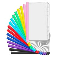 Gift Wrap 16 Pieces A6 Binder PVC Pockets Loose Leaf Bags Pouch Document Filing For 6-Ring Notebook Planner, 8 Colors