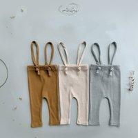 Neugeborene Hose Ripped Baumwolle Leggings für Babymädchen Overalls Infant Jungen Strap Hose 3 Farben 2021 Frühling Neue Ankunft 956 y2