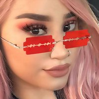 Mode Randlose Sonnenbrille Frauen Persönlichkeit Trend Einzigartiger Rasierer Klinge Mann Marke Fahren Gläser Oculos de Sol Uv400