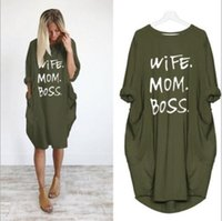 Newest Summer Women Letter Printed Dresses Fashion Crew Neck Panelled Ladies Dresses Casual Loose Long Sleeve Apparel