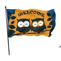 Owls Welcome Garden 3x5ft Flags 100D Polyester Banners Indoor Outdoor Vivid Color High Quality With Two Brass Grommets EWD9158