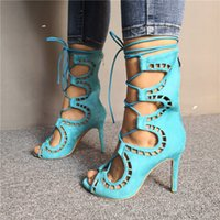 Handmade Ladies Stiletto High Heels Sandals Crosscriss Shoelace Peep-toe Faux Kid-suede Leather Real Photos Evening Party Prom Fashion Summer Shoes D542
