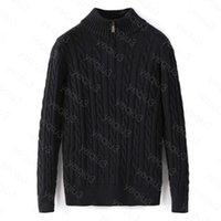 Men Sweater Winter Fleece Thick Half Zipper High Neck Warm Pullover Quality Slim Knit Wool Designer Knitting Casual Jumpers Zip Cotton Sweatshirts Asian Size