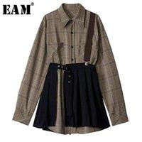 [EAM] Women Plaid Pleated Split Two Piece Dress Lapel Long Sleeve Loose Fit Fashion Spring Autumn 1D7110 210915