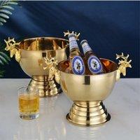 10 adet / grup Paslanmaz Çelik Buz Kovaları Geyik Kafa Kulak Altın Gümüş Şampanya Şarap Şişesi Tutucu Ev Partisi Bar Gece Kulübü Bira Raf Tutucu