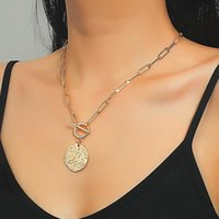 Pendant Necklaces Trendy Geometric Round Star Moon For Women Female Gold Clavicle Chain Necklace OT Buckle Jewelry