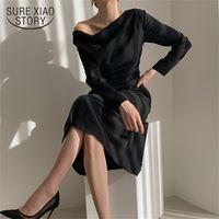 Джокер Сексуальное платье Мода Женщины Белый Черный Черный Рукавом Шея Земные Зрелые Платья Партии Нерегулярные Тонкие Vestido Femme 13067 210508