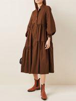 Kadınlar Şık Düzensiz Katmanlı Standı Yaka Puf Kollu Katı Renk Midi Elbise