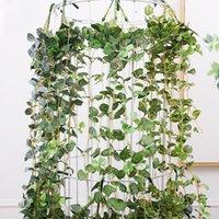 Artificial Ivy Plantas Parede Pendurado Radish Grama Videira Falso Verde Folhas Garland Home Jardim Loja De Casamento Partido Decoração Decorativa Flores