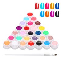 Nail Gel 24 Color Polish Art Pigment Set Glue UV Builder Solid Extension With One Brush