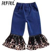 Jeans Spring Baby Girl Denim Flare Pants Solid Color Toddler Kids Elastic Korean Style Children Leopard Bell Trouser With Tassel