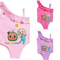 Kinder Bikinis Cocomelon Baby Mädchen Einteiliger Badeanzug Sommer Cartoon Badeanzüge Strand Ruffle Swimwear Kinder Beachwear G4YHBQY