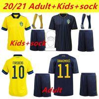 2021 Швеция Футбол Футбол Вентиляторы Версия игрока FORSBERG FORDELOF GUIDETTI FOOBALL Рубашка Ibrahimovic Kallstrom Национальный Maillot Man Kits Kit