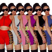 Дизайнерские женские 2021 летняя мода ночной клуб пальто два частя наборы настен на молнии сетки беспроводные шорты случайные сплайные жилет шорты тонкие наряды