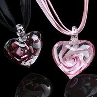 Hassas Murano Cam Spiral Çiçek Neckalce Kadınlar Romantik Kalp Kolye Zincir Gerdanlık Şerit Kolye Kızlar Takı Hediye