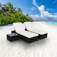 2 x lit plat Coussin amovible Coussins de jardin Ensembles de jardin noir de bronzage à quatre fils relaxant par ombre de la piscine avec table à thé