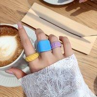 Harz Candy Colors Band Ringe Original Design Gelenkring Perlen Einfache Persönlichkeit Farbe Gummi Textur Makaron Acryl Index All-Match Ring Schmuck Geschenk