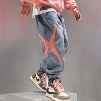 Jeans Mens Patchwork Harlan Tobillo Bandado Carga de Hombres Cintura Elástica Capri Hombres Hip Hop Pantalones