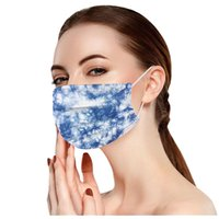 New Wholesale Designer Face Mask disposable adult mixed color tie-dye printing male female protective three-layer masks