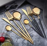 Зеркальное зеркало из нержавеющей стали Золото нож для ножа ложка вилка чая для чая простые изысканные западные ужин набор столовых приборов