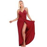 Novas mulheres moda sem mangas cor sólida algodão casual praia desgaste envolve dress plus size s-5xl