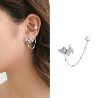 Clip-on & Screw Back SWOUR Fashion Jewelry S925 Silver Needle CZ Ear Cuff Pearl Puppy Dog Design Clip Earrings For Woman S404