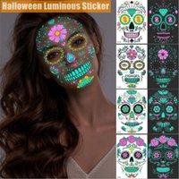 Decoração de festa de halloween cara tatuagens fulgor no escuro aranha web cicatriz rosas fullface máscara luminosa tatuagem adesivos para mulheres homens a02
