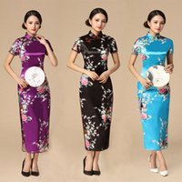 FloralPeacock Kadınlar Geleneksel Çin Elbise Vintage Mandarin Yaka Qipao Boy Uzun İnce Cheongsam 3XL 4XL 5XL 6XL 51D0 #