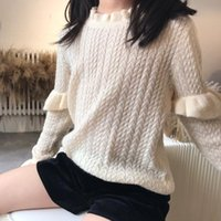 Pullover 2021 Pre-sale October 7th Girls Sweater Knitted Mohair Acrylic Fiber Sweet Toddler Tops 100-160