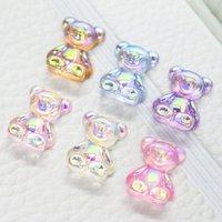 Nail Art Decorations 12 Pcs 3D Bear Resin Kawaii Rhinestone Glitter Aurora Jelly Gummy Ornaments Supplies For Professional