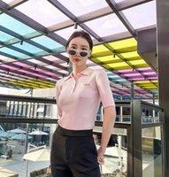 2021 Womens Polo Frühling Sommer Neue Marke Mode T Shirts Revers Slim Strick Kurzarm Tasche Briefe Klassische Stickerei Rosa Süße Mädchen Herz Bursting Tops