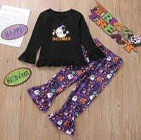 Euro American Girl Kleidung Set Halloween Brief Drucken Schwarz T-shirt + Flare Purple Hose Kinder Cosplay Kleidung Zwei Stück Sets