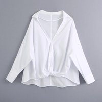 Katara Casual Loose Turn Down Collar Blouses Women Fashion Solid White Shirts Elegant Knot Tops Female Ladies HD Women's &